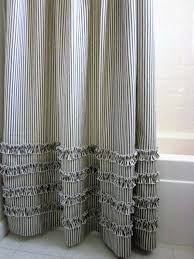vintage ticking stripe shower curtain with ruffles 3 sizes black gray navy striped blue and grey gray striped shower curtain