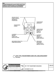 nih standard cad details thumbnail of e 60 01 dry type transformer 600v or less grounding