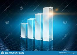 Silver Bar Chart Over Blue Background Stock Illustration