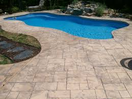 Stamped Concrete Swimming Pool | POOL DECK WITH COMPLETE COLOR STAMPING AND  FORMED WITH CANTILEVER