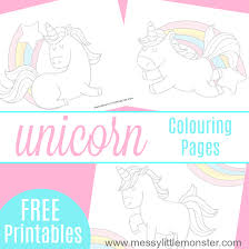 Free Printable Unicorn Colouring Pages Messy Little Monster