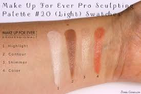 make up for ever pro sculpting palette 20 light swatches