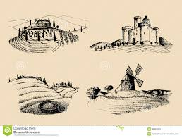 farm windmill drawing. Vector Farm Landscapes Illustrations Set. Sketches Of Castle, Villa, Windmill Etc In Fields. Hand Drawn Countryside. Drawing