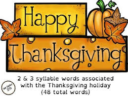 Thanksgiving Themed 2 3 Syllable Word Practice
