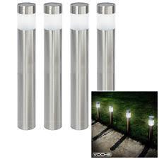 garden bollard lighting. VOCHE® 4 PACK STAINLESS STEEL WHITE LED SOLAR POWERED GARDEN BOLLARD POST LIGHTS Garden Bollard Lighting I