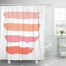 Cynlon Pastel Powder Baby Pink Orange Coral Dark Salmon Bathroom Decor Bath Shower Curtain 66x72 Inch Walmart Com Walmart Com