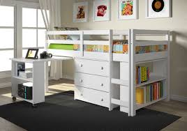 donco low white loft bed with desk and drawers
