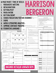 harrison bergeron ccss skills pages keys harrison bergeron 10 page packet tons of ccss skills plus answer key