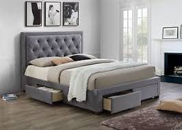 king size bed with storage drawers. Contemporary Bed Image Is Loading BirleaWoodburyGreyFabric4DrawerStorageBed With King Size Bed Storage Drawers