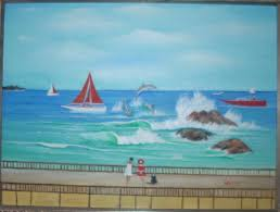 seascape painting beach scene dolphins by miguel lopez