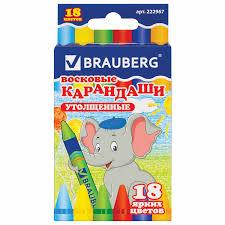 Купить Восковые карандаши утолщенные <b>BRAUBERG</b>/ПИФАГОР ...
