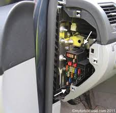 circuit addition to fusebox in your mk or mk volkswagen vw tdi it has a few snaps as seen below remove the 2x t20 torx screws indicated below the fusebox is now loose but to access the back you have to remove the trim