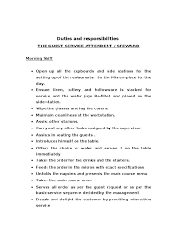duties and responsibilities steward