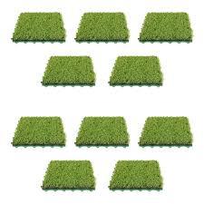 Indoor Outdoor Artificial Grass Deck Tiles 10 Square Feet ALEKO