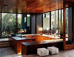 Mid Century Modern Kitchen Design With Wood Ceiling And Unique Kitchen  Cabinets And White Ottoman On Tile Flooring