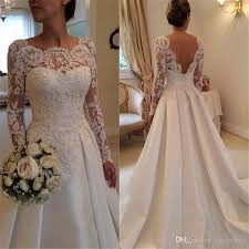 elegant beautiful wedding gown scoop neck backless long sleeve