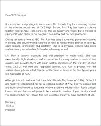 Recommendation Letter For Teaching Position Free 19 Letter Of Recommendation For Teacher Samples In Pdf