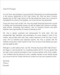 Letter Of Recommendation Teacher Free 19 Letter Of Recommendation For Teacher Samples In Pdf