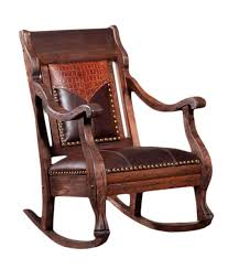 stately rocking chair with brown leather seat and embossed leather yoke western furniture and decor