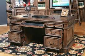 com parker house aria library double pedestal executive desk antique vintage smoked pecan kitchen dining