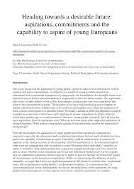 heading towards a desirable future aspirations commitments and heading towards a desirable future aspirations commitments and the capability to aspire of young europeans pdf available
