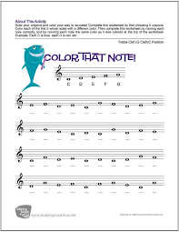 Color That Note - Free Note Name Worksheet - Treble Clef/C ...