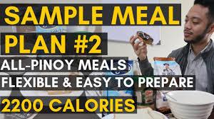 Vid 21 Sample Pinoy Meal Plan 2 2200 Calories Pinoy Diet Flexible Diet