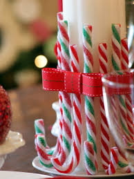 Edible Candy Cane Centerpieces.