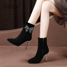 great 2018 rhinestone thigh high boots bow winter boots women genuine leather high heel shoes