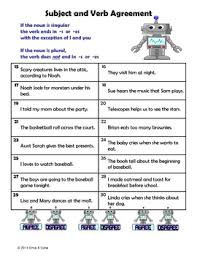 Subject Verb Agreement Chart Subject Verb Agreement Center Activity