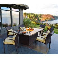 patio dining table with fire pit outdoor dining table fire pit with yellow cushion patio chairs patio dining table with fire pit