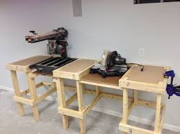 diy chop saw table. when the top is finished, it will have a common fence for both saws. diy chop saw table t