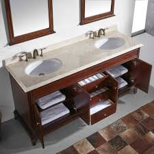 eviva elite stamford 60 brown solid wood bathroom vanity set with double og crema marfil marble top white undermount porcelain sinks