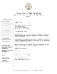 Congratulations Letter From Florida Rep Clarke Reed Keiser