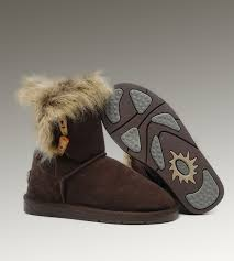 UGG Fox Fur Short Boots 5685 Chocolate Discount