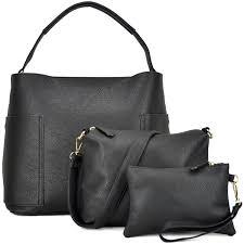 com 3pcs women vegan leather handbags designer hobo bag shoulder purse top handle tote work bag 3pcs black shoes