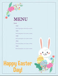 Easter Template Easter Party Menu