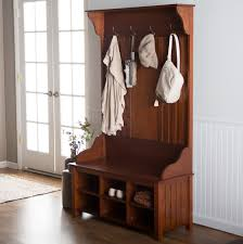 furniture corner hall tree storage bench with shoes and hooks for