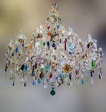 chandelier stunning colored multi glass crystal mini col