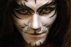makeup men white tiger face paint