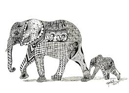 Baby Elephant Drawings Momma And Baby Elephant Drawing By Kathy Sheeran
