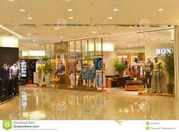 fashion store window in shopping mall  clothing stores in modern