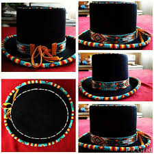 Native American Design Hats Top Hats Beaded Hat Bands Native American Beading Beaded Hat
