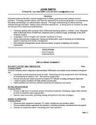 Security Escort and Timekeeper. ProfessionalResume Template ...