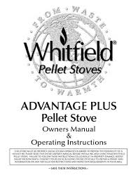 whitfield pellet stove manual whitfield advantage plus owner s manual
