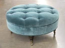 hf 459 round tufted ottoman upho hallman furniture microfiber coffee