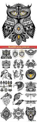 красивые татуировки векторные эскизы животные цветы Beautiful