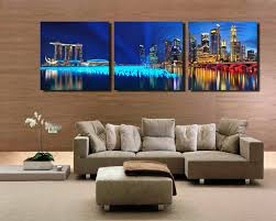 3 panel singapore night scene hd wall art picturetop rated canvas print painting for living