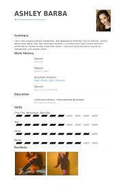 Dancer Resume samples