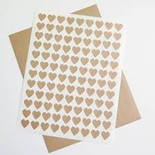 Kraft Labels Small Heart Stickers Brown Kraft Labels Ink Jet And Laser Printable For Wedding Invitations Scrapbooking Packaging